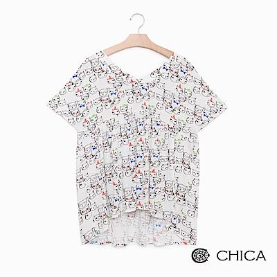 CHICA 玩味童趣貓咪圖騰胸前抓皺上衣(2色)