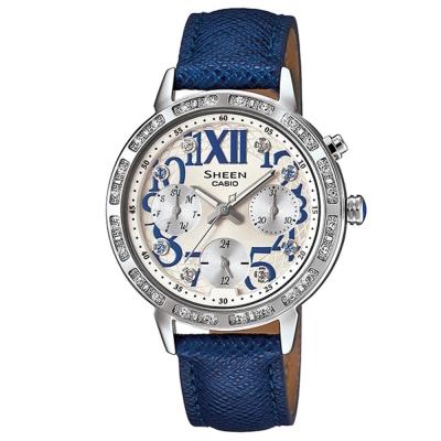 SHEEN 夏日閃耀風采羅馬數字三針三眼皮帶腕錶(SHE-3036L-4A)-寶藍錶帶/34mm