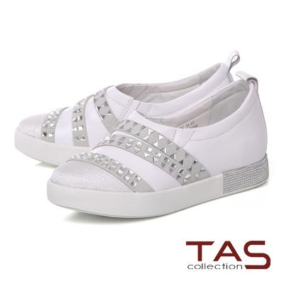 TAS 造型鉚釘拼接水鑽休閒鞋-休閒白