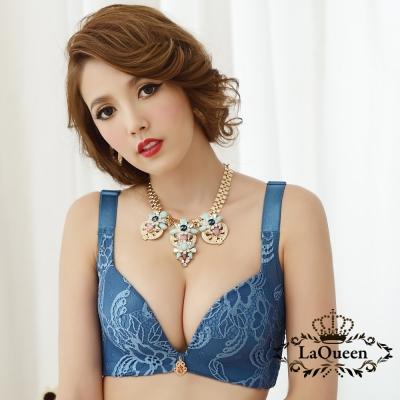 內衣  典雅蕾絲無鋼圈成套內衣-藍 La Queen