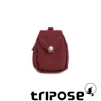 tripose  漫遊系列迷彩印花鑰匙零錢包 - 酒紅