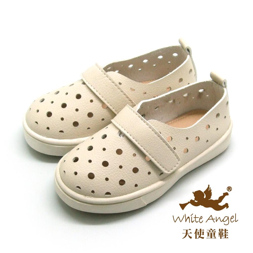天使童鞋-F580 大圓小圓洞洞寶寶學步鞋-百搭米色
