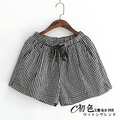文藝格子收腰闊腿短褲-黑色(F可選)     初色