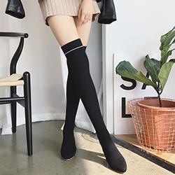 超顯瘦彈力針織過膝襪靴