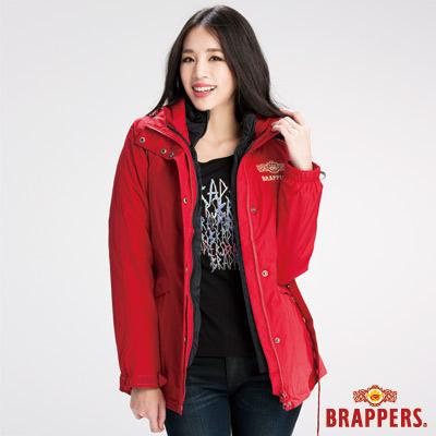 BRAPPERS-女款-二合一機能長版羽絨外套-紅