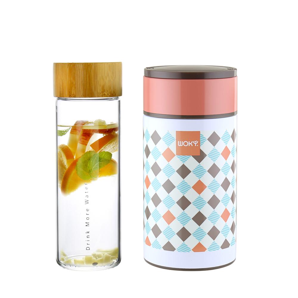 WOKY沃廚 竹蓋單層玻璃隨行杯550ML 316不鏽鋼真空食物罐1000ml附匙