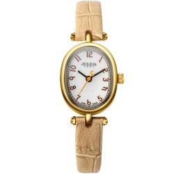 JULIUS聚利時 天使的指紋復古皮帶腕錶-淺卡其/21x26mm