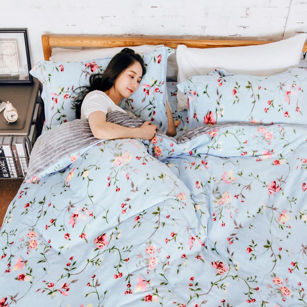 濱川佐櫻-花田漫舞 文青風法蘭絨特大兩用毯被鋪棉床包組