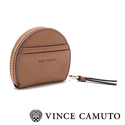 Vince Camuto 圓形鉚釘素面輕巧零錢包-棕色