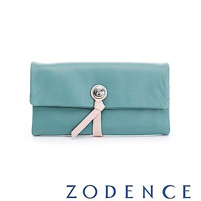 ZODENCE 義大利羊皮柔軟繩扣設計長夾 綠