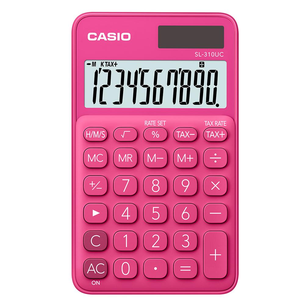 CASIO 10位元甜美馬卡龍輕巧口袋型計算機(SL-310UC-RD)-紅蜜桃