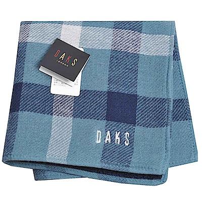 DAKS 經典格紋方格圖騰品牌字母LOGO刺繡小方巾(藍綠色)