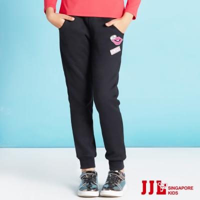 JJLKIDS 唇印貼內刷毛休閒運動棉長褲(黑色)