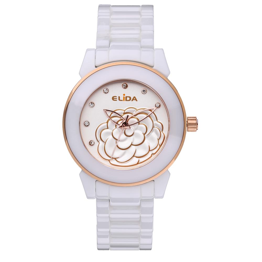 Elida 優雅時刻山茶花系列時尚腕錶-36mm