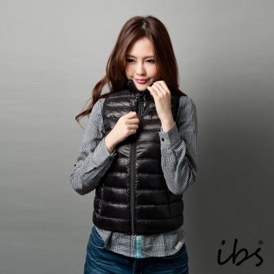 ibs-極輕量純白絨羽絨背心-女-黑