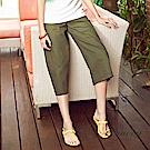 OUWEY歐薇 舒適好搭輕薄純棉寬褲(綠)