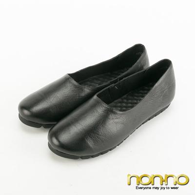 nonno-簡約大方真皮素面娃娃鞋-黑