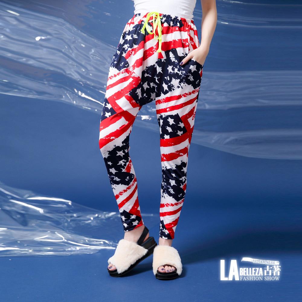 古著 暈染紅條國旗星星側口袋腰抽繩哈倫褲