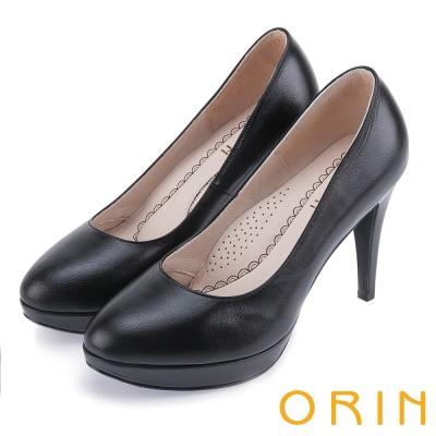 ORIN 簡約舒適柔軟 柔軟羊皮經典素面高跟鞋-黑色