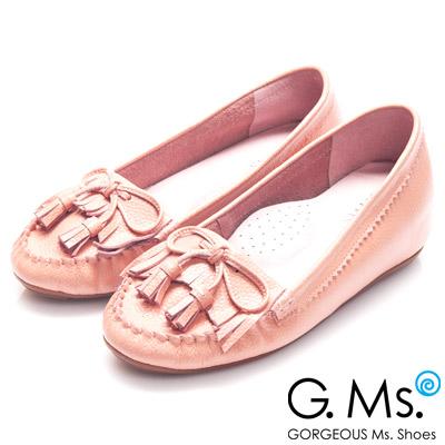 G.Ms.  Q彈新主張-流蘇蝴蝶結真皮內增高豆豆鞋-溫柔粉