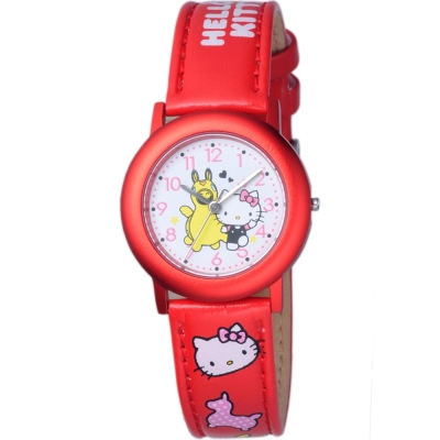HELLO KITTY 凱蒂貓俏皮跳跳馬聯名手錶-紅/32mm