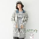 betty's貝蒂思 牛仔領幾何圖紋長版開襟毛料大衣(淺灰)