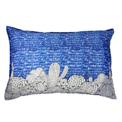 Yvonne Collection 平織仙人掌印花枕套- 寶藍