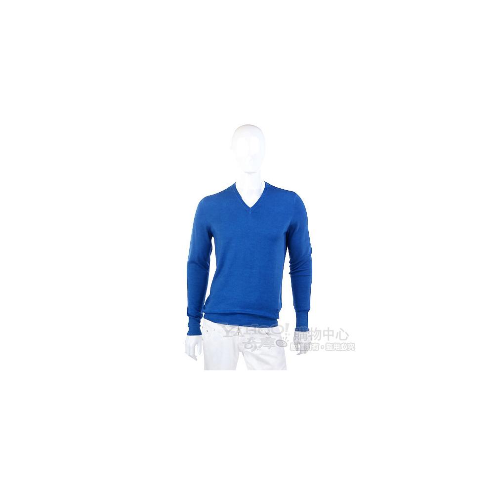 BURBERRY 藍色V領針織長袖上衣