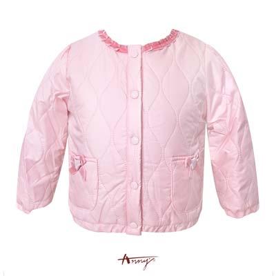 Anny獨特鋪棉雙口袋荷葉領外套*5654粉紅