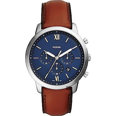 FOSSIL NEUTRA 時尚流行計時手錶(FS5453)-藍/44mm