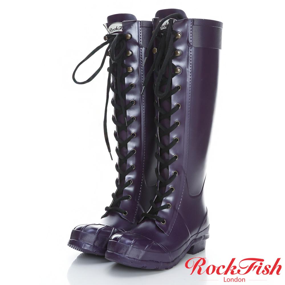 ROCKFISH 中性帥氣風長筒綁帶雨靴 摩登系列 神秘紫