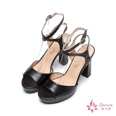 達芙妮DAPHNE 夏日風尚X型繞踝前高後高魚口粗跟涼鞋-精煉黑