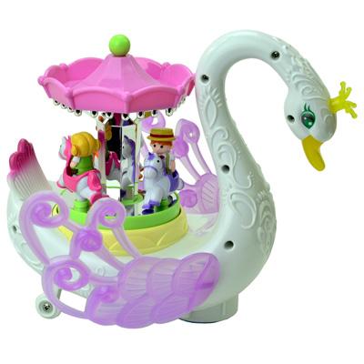 《Fantasy Swan》音樂燈光天鵝造型旋轉電動趣味萬向行走玩具