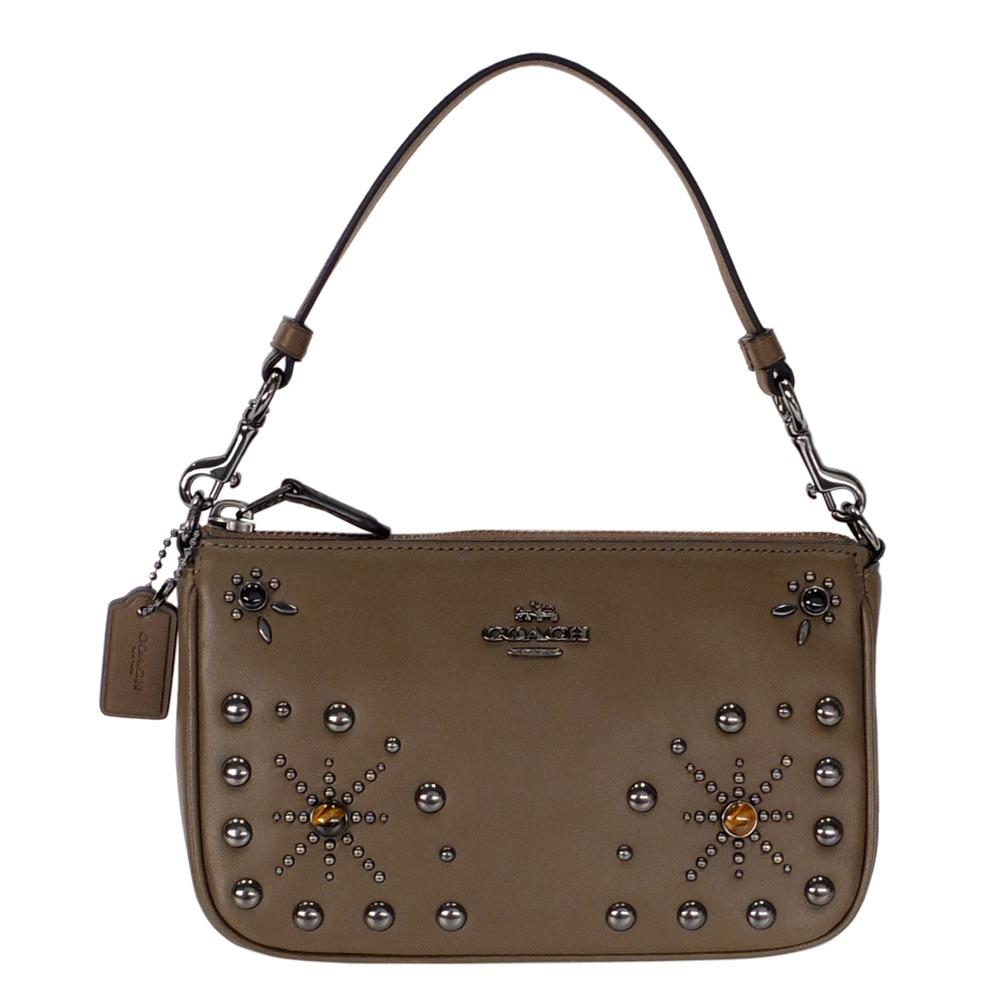 COACH深棕色全皮寶石珠飾手提掛小包COACH