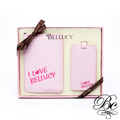 BELLUCY 護照套行李吊牌旅遊套組(氣質粉)