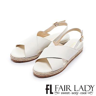 Fair Lady 交叉寬帶裝飾草編輕便涼鞋 米