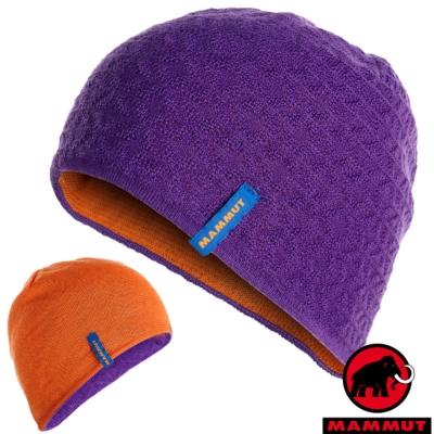 【MAMMUT 長毛象】中性新款 Nordwand 雙層雙面保暖帽子.針織_黎明紫/日出橙
