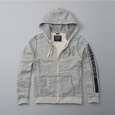 A&F 經典文字電繡連帽外套-灰色 AF Abercrombie