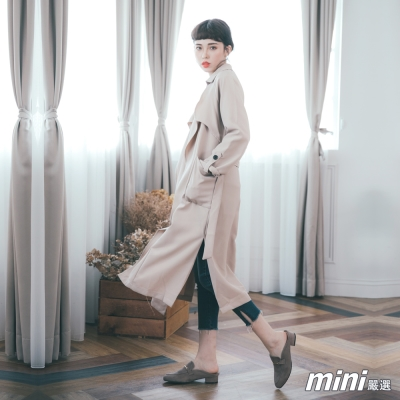 外套 造型綁帶翻領長版風衣外套 二色-mini嚴選