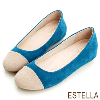 ESTELLA-誘人比例-牛麂皮雙色內增高豆豆鞋