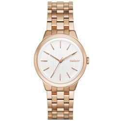 DKNY  風華紐約韻味時尚腕錶-白X玫瑰金/36mm