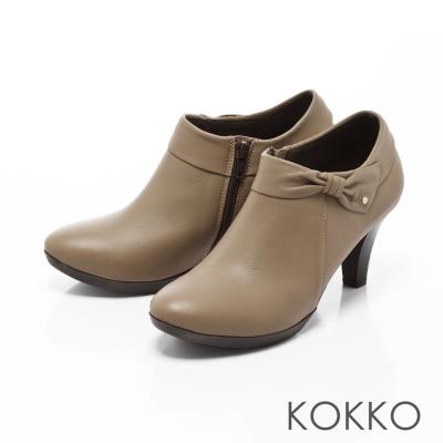 KOKKO-精品手感蝴蝶結羊皮高跟踝靴-卡其灰
