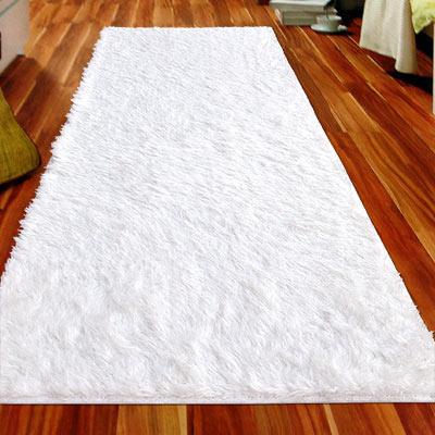 【Ambience】進口Bonnie類兔絨長毛毯(床邊/走道毯)-白色50x150cm