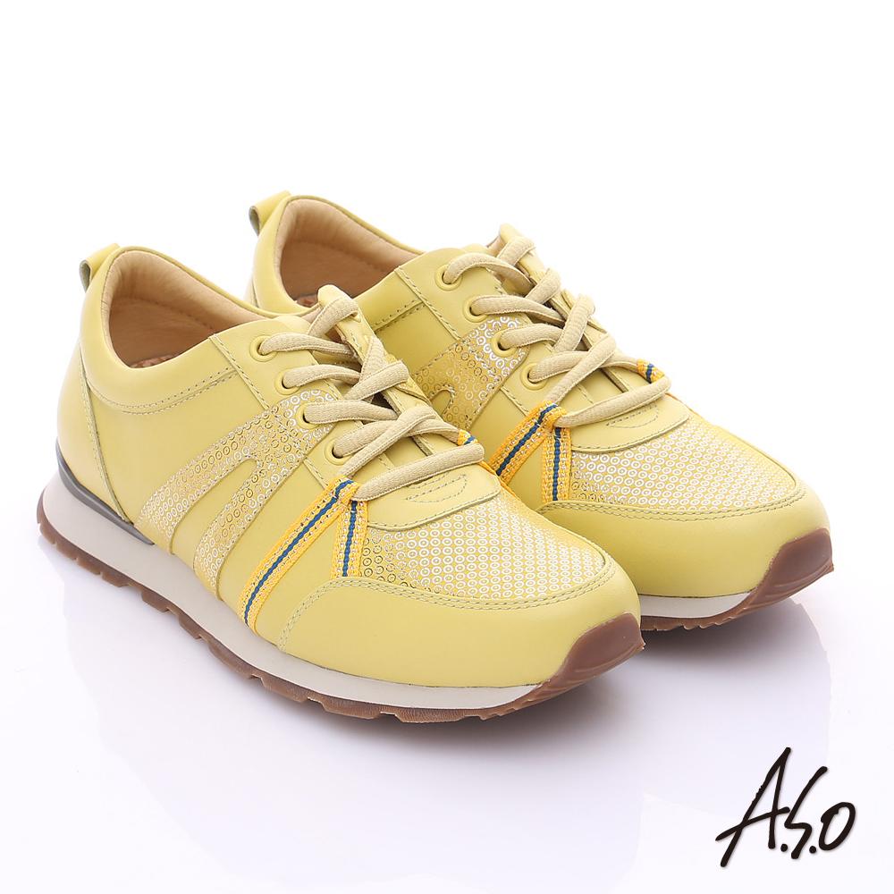 A.S.O 輕量抗震 牛皮拼接絨面金箔奈米綁帶休閒鞋 黃色