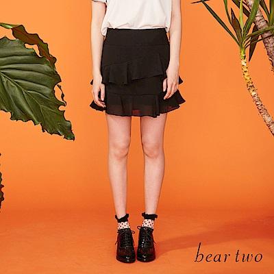 beartwo 精緻裙襬多層次蛋糕短裙(黑色)