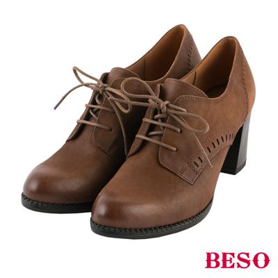 BESO復古摩登 綁帶擦色全真皮粗跟牛津鞋~茶