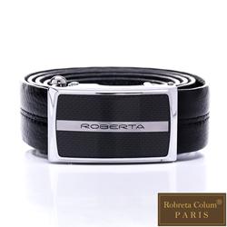 Roberta Colum - 精準時尚款碳纖自動金屬滑扣黑牛皮皮帶
