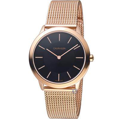 CK Calvin Klein 玫瑰金色的米蘭帶手錶(K3M2262Y)-黑面/35mm