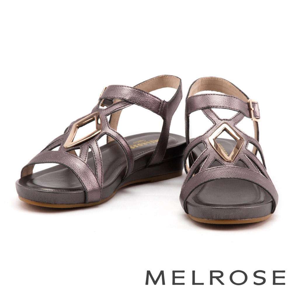 涼鞋 MELROSE 菱形金屬方釦牛皮厚底涼鞋-古銅