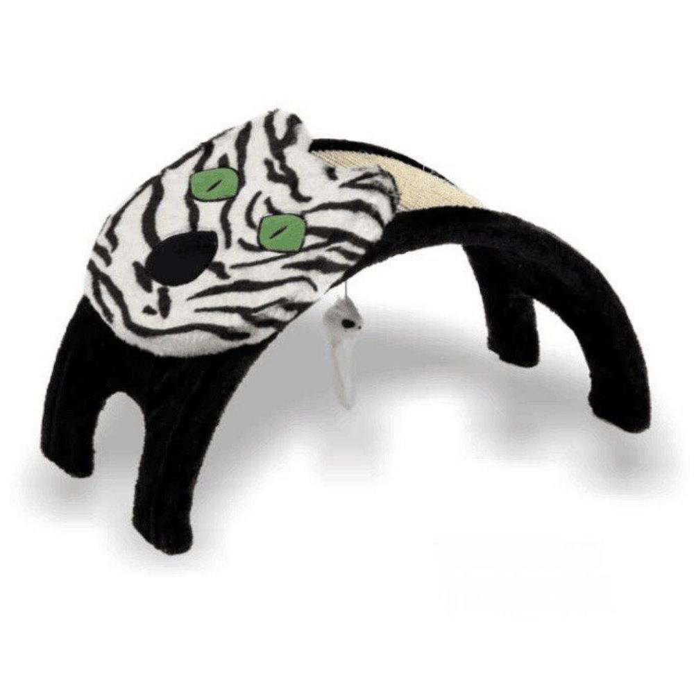 寵喵樂 貓臉造型拱型貓抓板【斑馬紋】